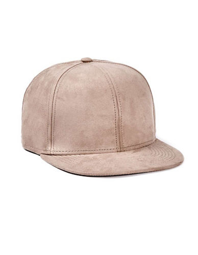 Topman Faux Suede Snapback Cap-TAUPE-One Size