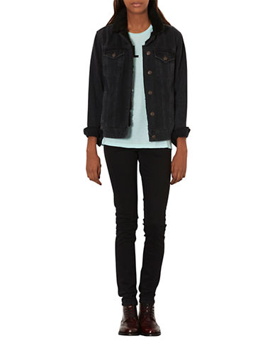 Topshop Tall Moto Black Jamie Jeans 32 Inch Leg-BLACK-28X36