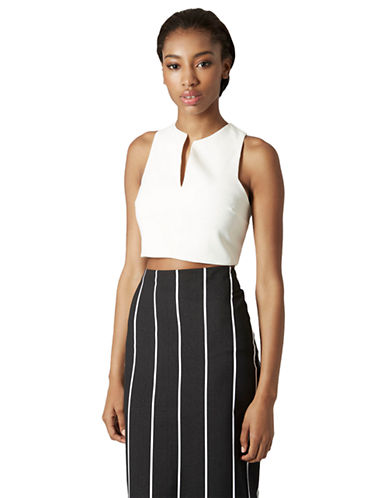 Topshop Split Front Crop Top-WHITE-10