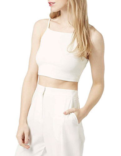 Topshop Ribbed Crop Top-WHITE-4