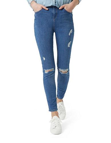 Topshop TALL MOTO Ripped Jamie Jeans 36 Inch Leg-MID DENIM-28X36