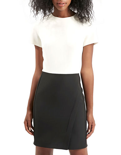 Topshop Colourblock Wrap Sheath Dress-GREY-UK 14/US 10