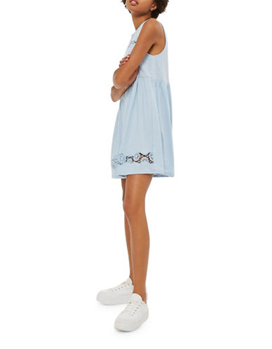 Topshop Embroidered Babydoll Dress-LIGHT BLUE-UK 12/US 8