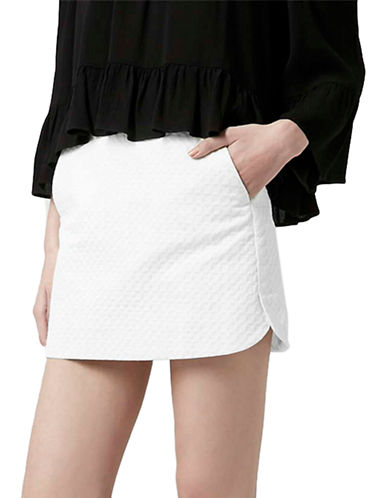 Topshop Textured Curved Hem Pelmet Skirt-WHITE-10