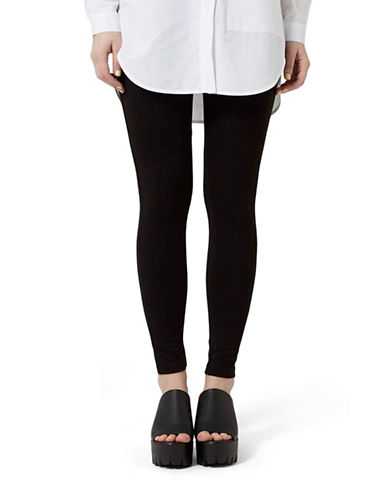Topshop Stitch Ponte Leggings-BLACK-UK 14/US 10