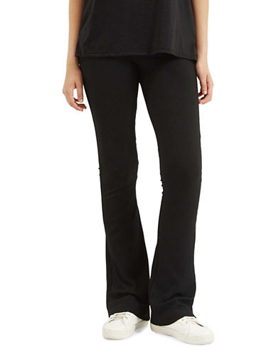 Topshop Skinny Ribbed Flared Pants-BLACK-UK 12/US 8