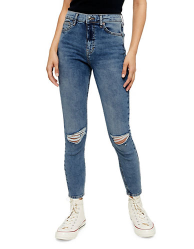 Topshop PETITE MOTO Ripped Jamie Jeans 28 Inch Leg-MID DENIM-25X28