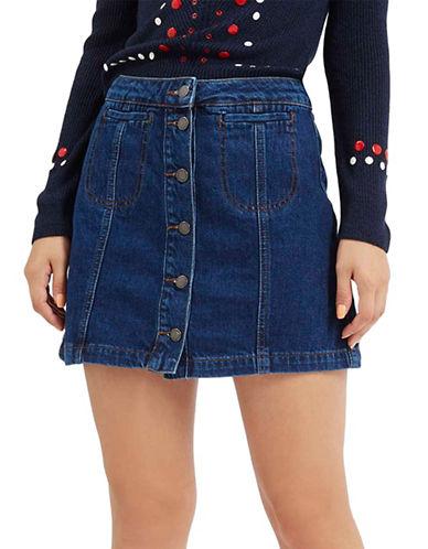Topshop MOTO Vintage Wash Button-Front Mini Skirt-MID DENIM-UK 12/US 8 plus size,  plus size fashion plus size appare