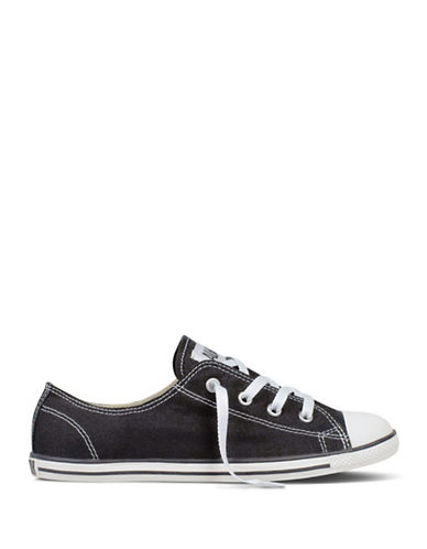 Converse Womens Chuck Taylor All Star Dainty Canvas Ox Sneakers-BLACK-5.5