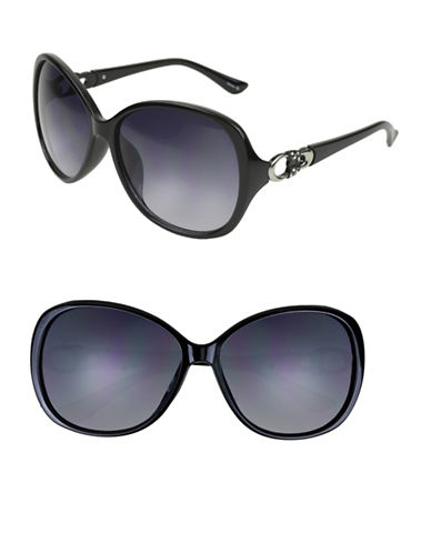 Edit By Jeanne Beker Alannah 61mm Oversized Square Sunglasses-BLACK/SILVER-One Size