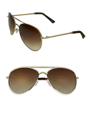 Edit By Jeanne Beker Lacy 55mm Aviator Sunglasses-GOLD/TORTOISE-One Size