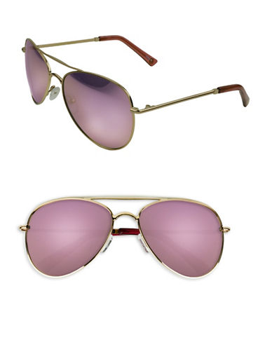 Edit By Jeanne Beker Lacy 55mm Aviator Sunglasses-GOLD/PINK-One Size