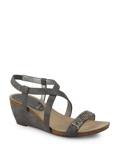 Anne Klein Strappy Wedge Sandals-LIGHT BRONZE-10