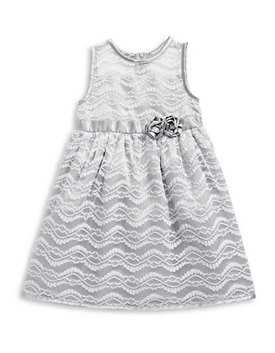 Penelope Mack Illusion Lace Fit-and-Flare Dress-SILVER-3
