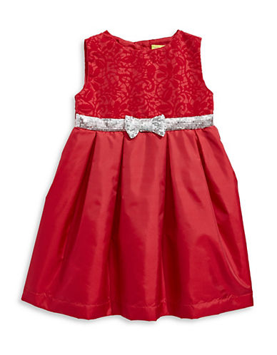 Penelope Mack Bow-Tie Holiday Dress-RED-2T