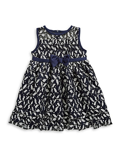 Penelope Mack Bow-Tie Lace Holiday Dress-BLUE-24 Months