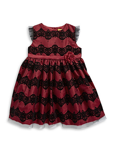 Penelope Mack Lace Fit-and-Flare Dress-RED-24 Months