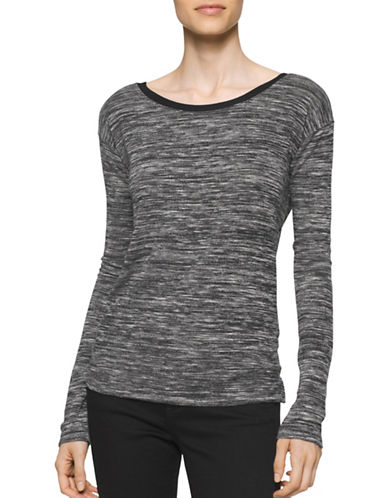Calvin Klein Jeans Marl V-Back T-Shirt-BLACK-X-Large