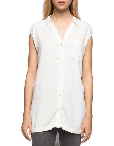 Calvin Klein Jeans Sleeveless One-Pocket Tunic-WHITE-Small
