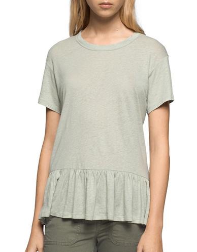 Calvin Klein Jeans Ruffled Crew Neck T-Shirt-GREEN-Medium 89145321_GREEN_Medium