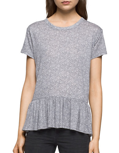 Calvin Klein Jeans Ruffled Crew Neck T-Shirt-GREY-X-Small 89145324_GREY_X-Small