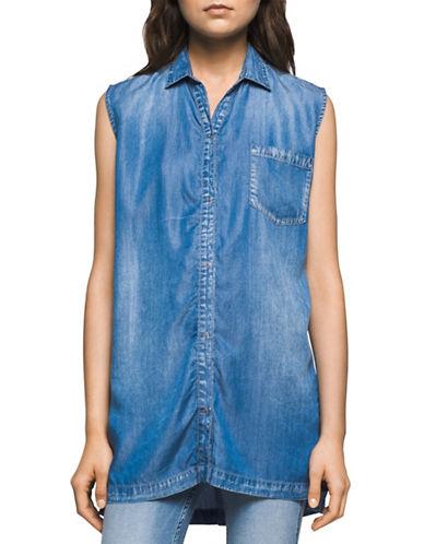 Calvin Klein Jeans Sleeveless Tencel Top-BLUE-Large 89145337_BLUE_Large
