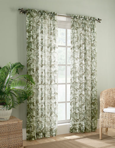 Home Studio Two-Pack Sheer Voile Bengali Window Panels-GREEN-One Size