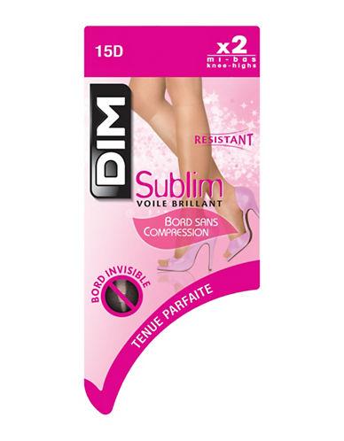 Dim 2 Pack Sublim Glossy Sheer Knee High 15D-BEIGE-Small/Medium