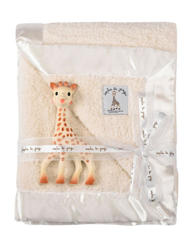 Sophie Girafe Cotton Blanket and Giraffe Toy Set-BEIGE-One Size