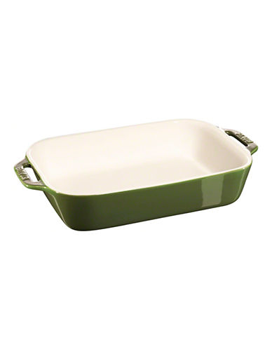 Staub 2.5 Quart Ceramic Rectangular Dish-GREEN-One Size