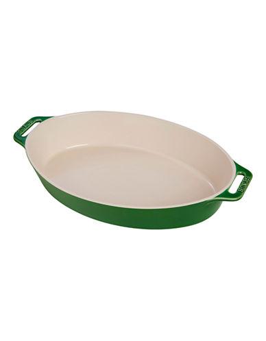 Staub 2.5 Quart Ceramic Oval Dish-GREEN-One Size