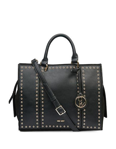 Nine West Hazel Satchel-BLACK-One Size