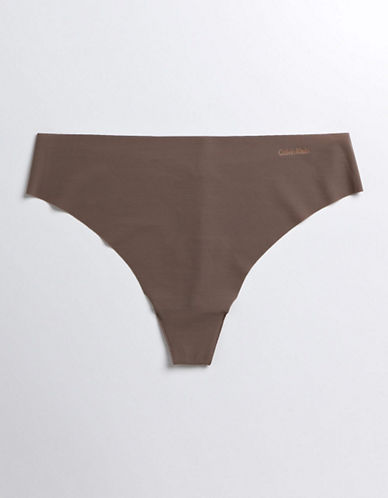 Calvin Klein Invisibles Thong-BROWN-Small