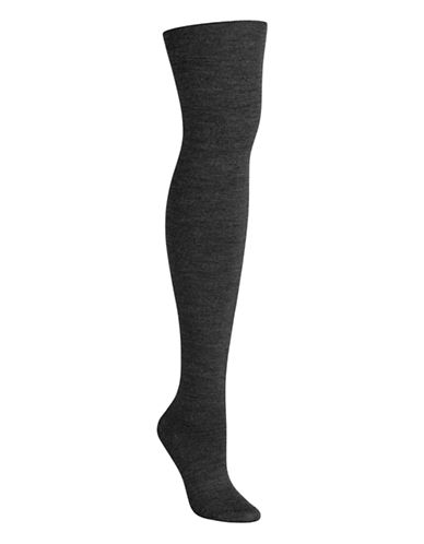 Bleu Foret Fine Wool Jersey Tights-GREY-Medium