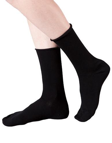 Bleu Foret Velvet Cotton Socks-BLACK-6-8