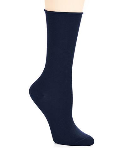 Bleu Foret Velvet Cotton Socks-DENIM-6-8