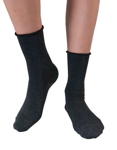 Bleu Foret Velvet Cotton Socks-DARK GREY-6-8