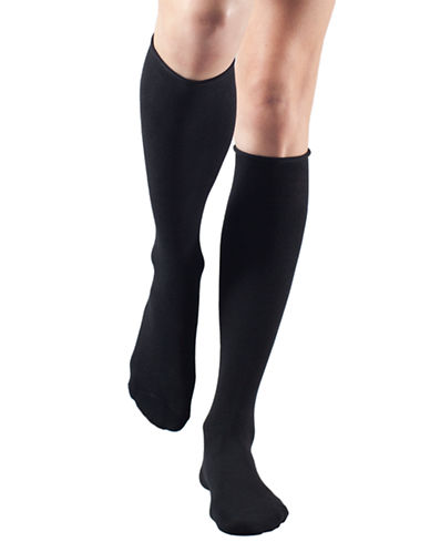 Bleu Foret Velvet Cotton Knee Highs-BLACK-6-8