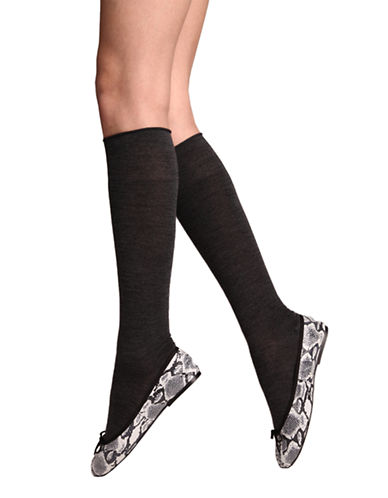 Bleu Foret Velvet Cotton Knee Highs-DARK GREY-6-8