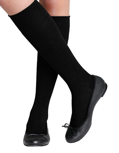 Bleu Foret Velvet Wool Knee High-BLACK-6-8
