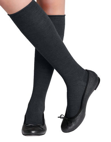 Bleu Foret Velvet Wool Knee High-CHARCOAL-6-8