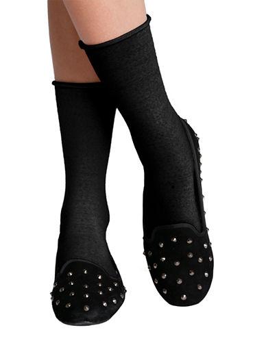 Bleu Foret Velvet Fine Wool Socks-BLACK-6-8