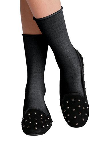 Bleu Foret Velvet Fine Wool Socks-CHARCOAL-6-8