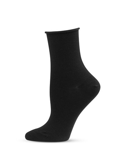 Bleu Foret Rolled Crew Sock-BLACK-6-8
