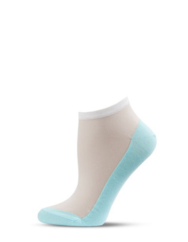 Bleu Foret Iridescent Paneled Ankle Socks-MINT-One Size