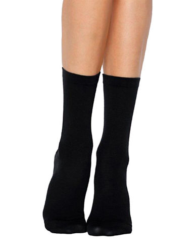 Bleu Foret Two-Pair Combed Cotton Crew Socks-BLACK-6-8