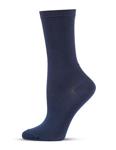 Bleu Foret Two-Pair Combed Cotton Crew Socks-NAVY-6-8