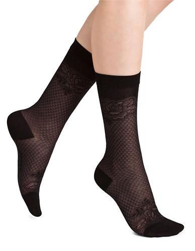 Bleu Foret Floral Lace Socks-BLACK-Medium