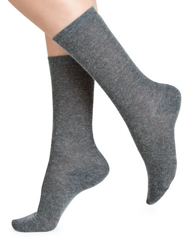 Bleu Foret Two Pair Sock Set-GREY-One Size