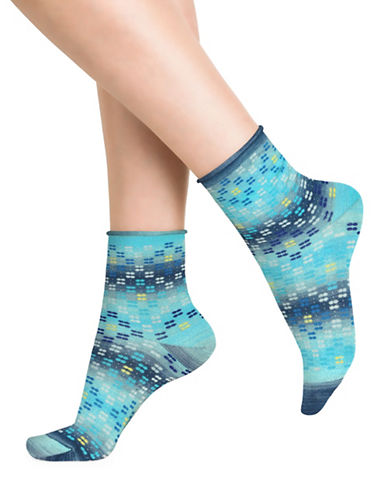 Bleu Foret Gradient Dot Ankle Socks-BLUE-One Size